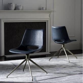 Safavieh Danube Mid Century Modern Leather Swivel Dining Chair, Set of 2