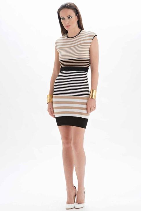 Torn By Ronny Kobo Victoria Alternate Stripes Dress in Beige Combo