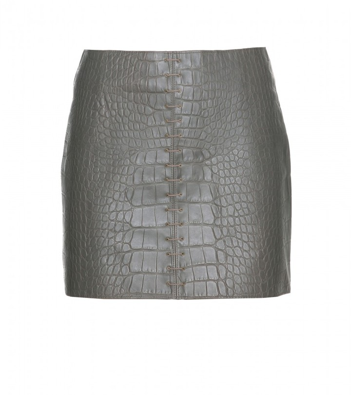 Alexander Wang LACE-UP CROCO EMBOSSED LEATHER MINI SKIRT