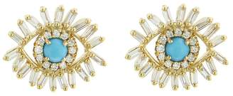 Suzanne Kalan Diamond Turquoise Evil Eye Stud Earrings - Yellow Gold