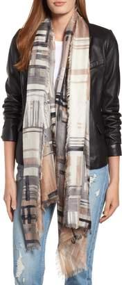 Nordstrom Eyelash Trim Print Cashmere & Silk Wrap