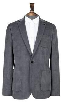 Burton Mens Grey Cord Skinny Fit Stretch Blazer