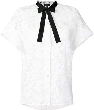 Escada bow tie neck embroidered shirt