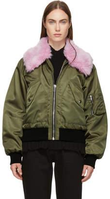 MSGM Green Faux-Fur Bomber Jacket