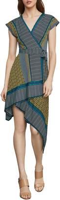 BCBGMAXAZRIA Mixed-Print Faux Wrap Fit--Flare Dress
