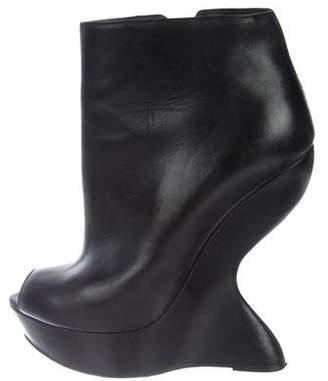 Alexander McQueen Peep-Toe Wedge Boots