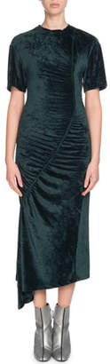 Kenzo Asymmetric Gathered Velvet Midi Dress