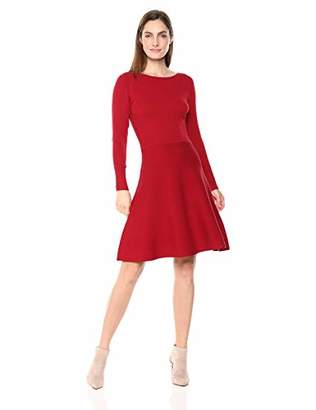 Lark & Ro Women's Long Sleeve Ribbed Crewneck Fit and Flare Sweater Dress