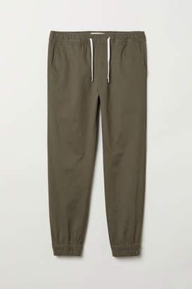 H&M Cotton Twill Joggers - Green
