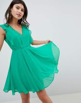 Asos Design DESIGN ruffle mini dress with open back