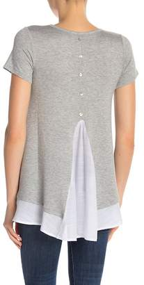 Bobeau Button Back Gauze Hem Tee