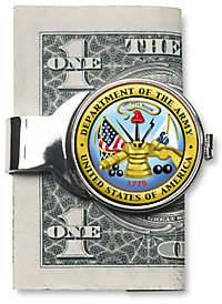 JFK American Coin Treasures Silvertone Money Clip w/ Colorized Army Half Dollar