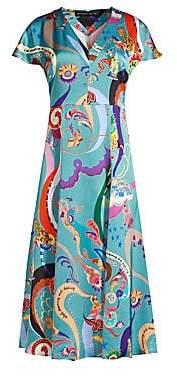 Etro Women's Print Chiffon Cap Sleeve A-Line Dress
