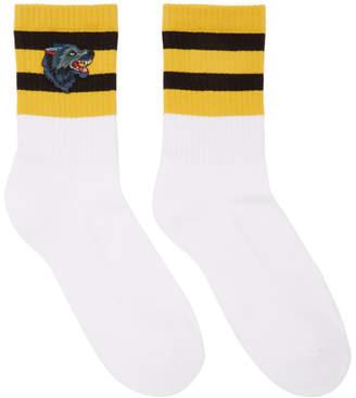 Gucci White Striped Wolf Socks