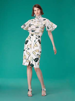 Diane von Furstenberg Flutter Sleeve Ruched Mesh Blouse