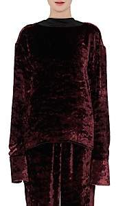 Maison Margiela WOMEN'S CRUSHED VELVET TOP - BURGUNDY SIZE 40 IT