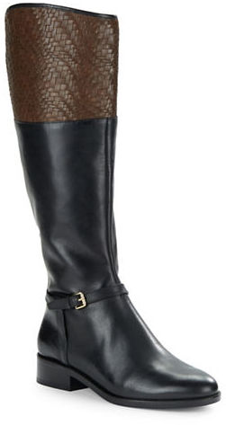 Cole Haan  Cole Haan Genevive Woven Leather Riding Boots