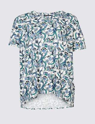 Marks and Spencer CURVE Floral Print Short Sleeve T-Shirt