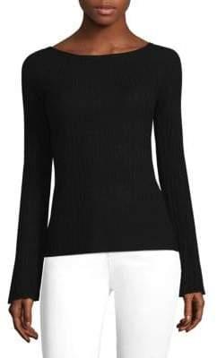 Elie Tahari Ribbed Bell-Sleeve Merino Wool Sweater