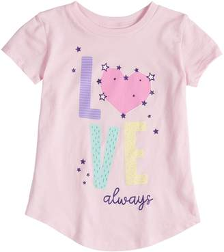 "Osh Kosh Toddler Girl Jumping Beans ""Love Always"" Glittery Graphic Tee"