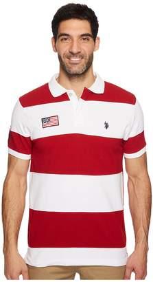 U.S. Polo Assn. Slim Fit Color Block Short Sleeve Pique Polo Shirt Men's Short Sleeve Pullover