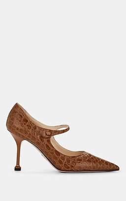 Prada Women's Stamped Leather Mary Jane Pumps - Visone