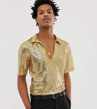 Reclaimed Vintage inspired deep V neck shirt in sequin