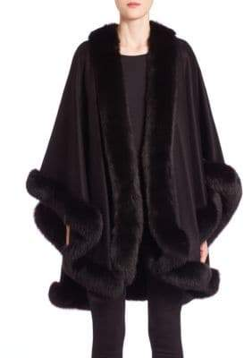 The Fur Salon Fur-Trimmed Cashmere Cape