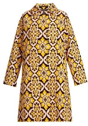 La Doublej - Tile Print Cotton Velvet Coat - Womens - Yellow Multi