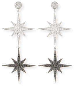 Sydney Evan 14k Two-Tone Diamond Starburst Drop Earrings