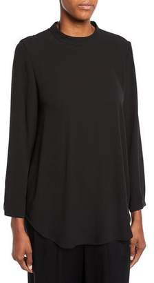 Eileen Fisher Petite Mock-Neck Silk Crepe Blouse