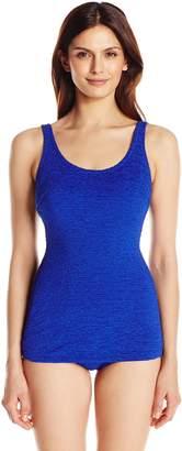 Penbrooke Women's Krinkle Chlorine-Proof D-Cup Sheath One Piece Swimsuit