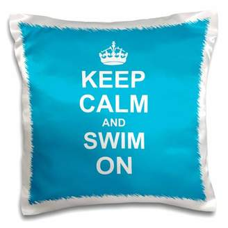 Pool' 3dRose Keep Calm and Swim on - blue carry on swimming - hobby or pro Swimmer gifts - pool fun funny humor, Pillow Case, 16 by 16-inch