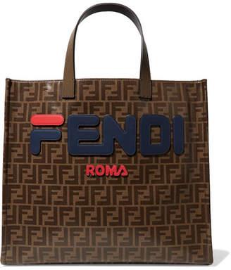 Fendi Fila Leather-appliquéd Coated-canvas Tote - Brown