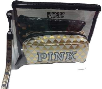 Victoria's Secret By Pink Pink Black & Gold Cosmetic Bag Trio Set NWT