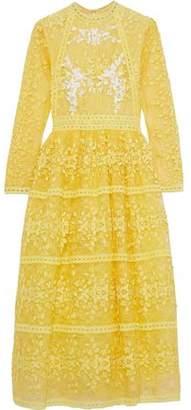 Costarellos Flared Embroidered Lace Midi Dress