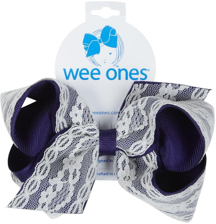 Wee Ones Grosgrain Bow with Lace - Light Navy-One Size