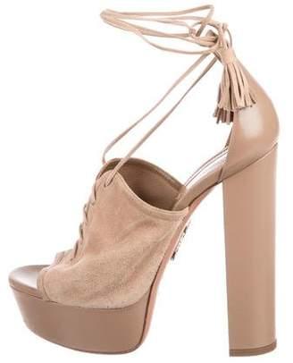 Aquazzura Lace-Up Platform Sandals