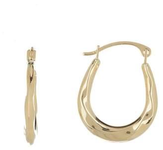 Candela 10K Yellow Gold Oval Fluted Hoop Earrings