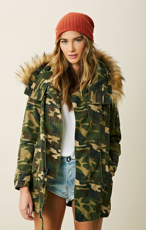Capulet MILITARY PARKA WITH FAUX FUR HOOD