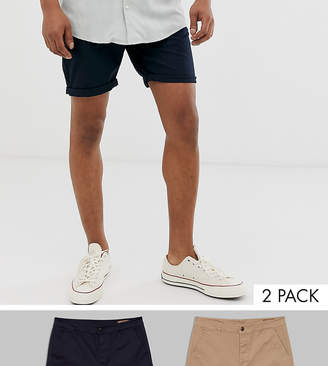 Asos Design 2 Pack Slim Chino Shorts In Stone & Navy Save