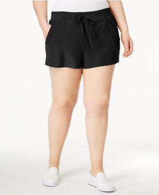 Planet Gold Trendy Plus Size Drawstring-Waist Soft Shorts $39 thestylecure.com