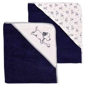 Little Me Baby's Two-Pack Puppy Velour Hooded Towels