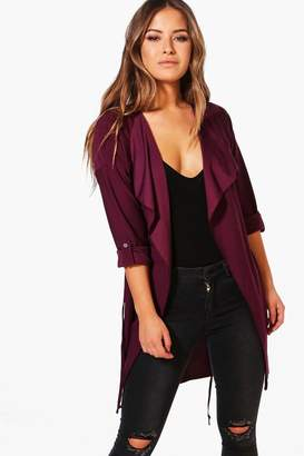 boohoo Petite Waterfall Ruched Back Belted Duster