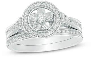 Zales 1/4 CT. T.W. Diamond Frame Collar Flower Bridal Set in 10K White Gold