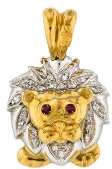 18K Ruby & Diamond Lion Pendant