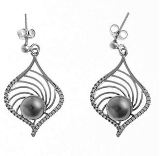 Black Indira Tahitian Pearl and Sterling Silver Earrings