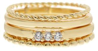Sterling Forever 14K Gold Plated Textured Stackable Band Ring - 4-Piece Set