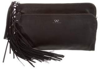 Anya Hindmarch Fold-Over Fringe Clutch