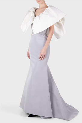 Christian Siriano Silk Two Toned Wing Sleeve Gown